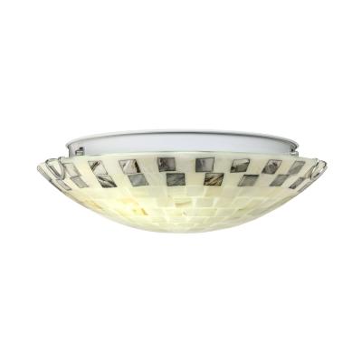 2 Light Shell Shade Flush Mount Ceiling Lights Stain Glass Tiffany Ceiling Light in Off-White