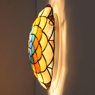 Multi-Colored Flower Design Ceiling Light Fixture in Tiffany Stained Glass Style 3 Sizes Available