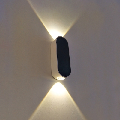 Simple Style Vertical Oval Shaped Led Sconce Lights 6W Aluminum Linear Wall Washer in Black Led Up/Down Wall Light Fixture for Bedside Hotel Office Hallway Porch
