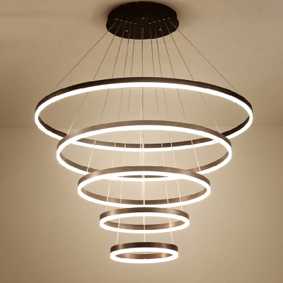 Black Modern Chandelier 4-Light/5-Light Santurn II LED Collection Pendant Light Fixture Cord Adjustable Brushed Aluminum Circular Led Chandelier (Warm White Neutral Light)