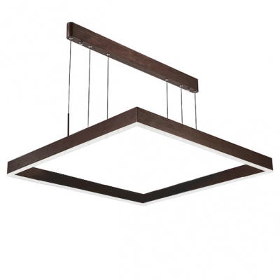 Dark Brown Linear Island Pendant Brushed Aluminum 1 Tier/2Tier/3 Tier LED Square LED Chandelier in Acrylic Shade for Dining Room Foyer Entryway