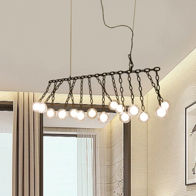 LED Accent Lights Multi Head Glass Ball LED Chandeliers Black Linear Hanging Light with Metal Chain Decoration for Bar Counter Cafe Restaurant