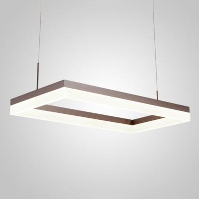 Modern Adjustable Pendant Lighting Frosted LED Rectangular Chandelier 15.75