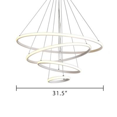 Modern LED Veloce Pendant Light Brown Aluminum Multi Tiered Ulra-thin Ambinet LED Warm White Neutral Light Halo Chandelier for Bedroom Dining Room Living Room