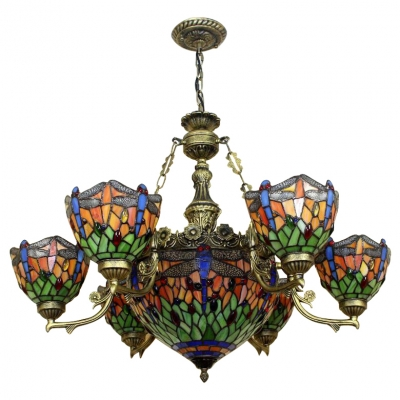 Tiffany Orange Stained Glass Dragonfly Motif 7/9 Heads Chandelier with Center Bowl