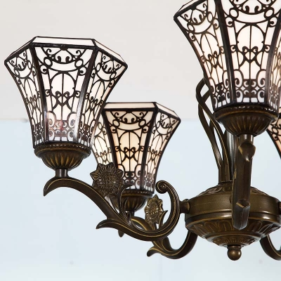 Traditional Tiffany Art Glass 5-Light Inverted Chandelier with Classic Black Pattern Hexagon Shade