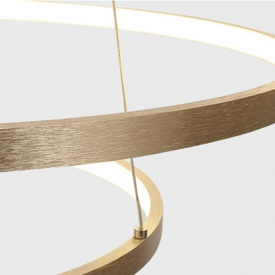 Ultra Modern Gold Finish Small/Large Halo LED Chandelier Brushed Aluminum  90/110W Ultra-thin 3 Ring LED Chandelier Light for Living Room Entryway Staircase