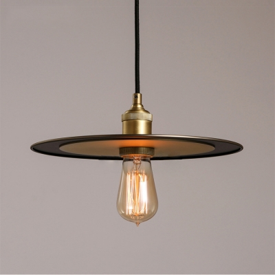 "Image of ""10.23"""" Width Industrial Style Single Light Source with Saucer Shade Hanging LED Pendant Lamp"""