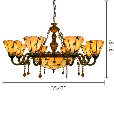 Living Room Green Leaf Motif Inverted Chandelier with Center Bowl 3 Sizes for Choice