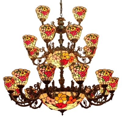 3-Tier Floral Theme Tiffany Stained Glass M&S Lights Chandelier, Large Size, 2 Designs for Choice