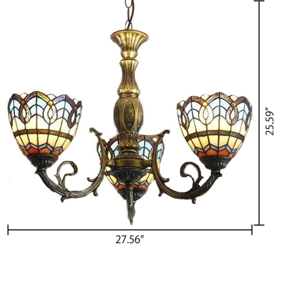 Blue Glass Shade Inverted Ceiling Light Tiffany Chandelier with 3 Lights in Antique Brass Finish