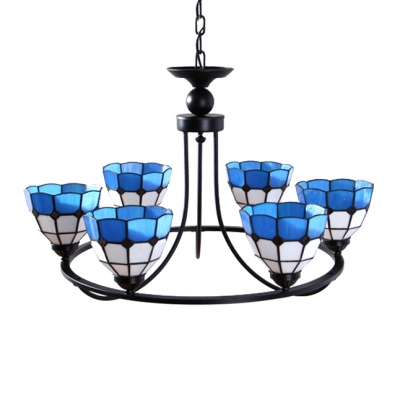 Blue Stained Glass 6/8-Light Mediterranean Inverted Chandelier in Black Finish
