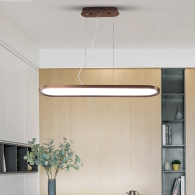 Height Adjustable Brown Led Oval Pendant Light 34 45 55w 23 62 Quot 35 43 Quot 47 24 Quot Long Aluminum