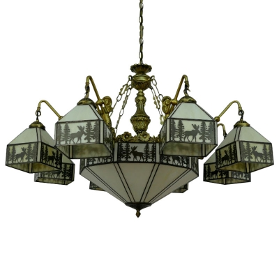 Lodge Style Elk Pattern Square Shade Chandelier with 8 Mermaid Resin Arms
