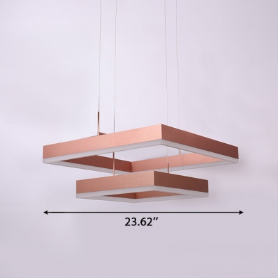 Post Modern Brushed Aluminum Rose Gold Chandelier for Dining Room Kitchen 30/80W Tiered Frosted Shade Square LED Chandelier in Acrylic Shade AC100-240V