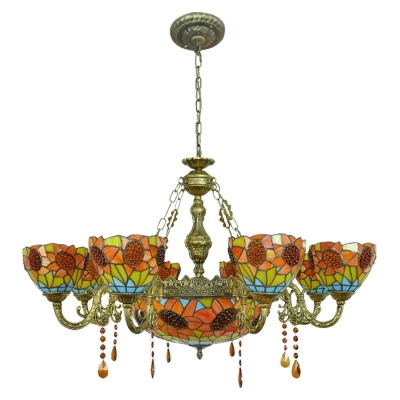 Sunflower Motif Amber Crystal Drops Accent Chandelier with Center Bowl 2 Sizes for Option