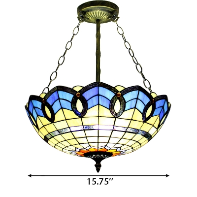 Mediterranean Style Stained Glass Bowl Shade Pendant Light, Up Lighting, 3 Sizes Available