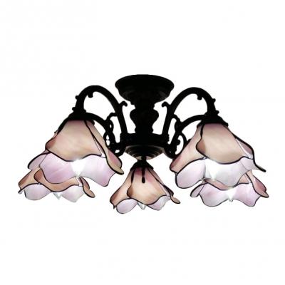 3/5-Light Tiffany Art Glass Pink Flower Shade Semi Flush Mount Ceiling Fixture for Living Room Restaurant