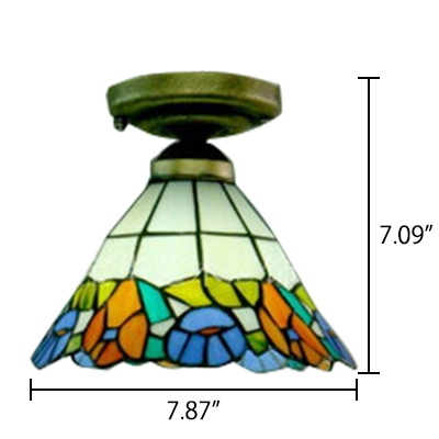 Conical Shade with Floral Theme Flush Mount Ceiling Light in Tiffany Style, 8-Inch Wide
