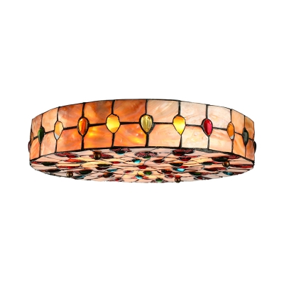 Glamorous Peacock-inspired Shell Shade Tiffany Flush Mount Ceiling Light
