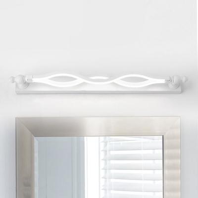Head Swivel White Finish LED Wave Vanity Light 20.47
