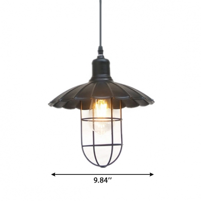 Industrial Style Black Single-Bulb Hanging Lamp Down Lighting with Scalloped Shade Cage