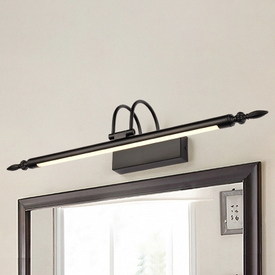Industrial Vintage Style Black Finish LED Vanity Light 9/12/14W Warm White Arc Arm Long Linear LED Vanity Lighting for Bedside Bathroom Study Room