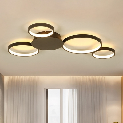 Modern Living Room Bedroom Lighting 4 Lights Circular Ring LED Ceiling