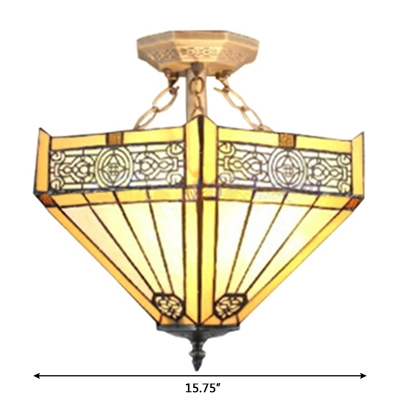 Tiffany-Style Mission 2-Light Semi-Flush Mount Ceiling Fixture in Yellow, 16-Inch Wide Shade