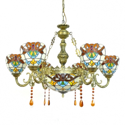 Victorian Style Gorgeous Flower Pattern Center Bowl Chandelier with 6 Arms in Antique Brass Finish