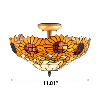 2-Light Semi-Flush Mount Ceiling Fixture with Tiffany Colorful Glass Shade, 16