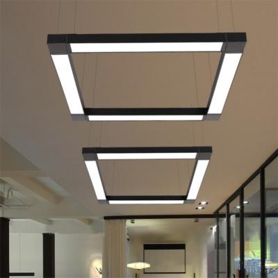 AC110-240V 6000K Bright White Light Modern Linear LED Pendant Light Black Aluminum 23.62