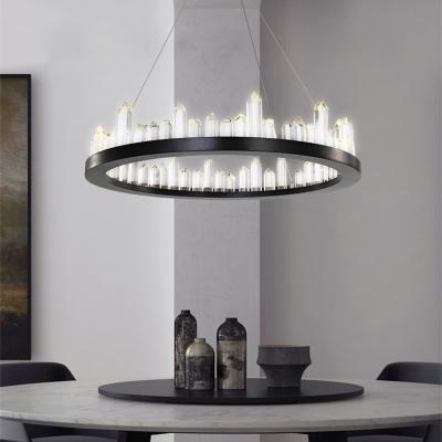 Art Deco Chandelier Black Metal K9 Crystal Round LED Chandelier with Natural Ice Decoration Best Lighting for Restaurant Cafe Dining (1 Light/2 Light)