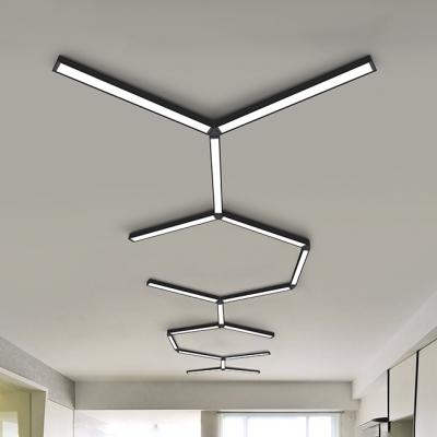Commerical Office Lighting Bright LED 6000K Cold White Light Black Aluminum Linear Ceiling Light 23.62