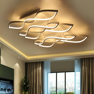 Contemporary Minimalist Linear Ceiling Lights 37W-152W 1/2/3/5 Light White LED Wave Shaped Ceiling Lighting for Living Room Bedroom