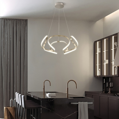 Dining Kitchen Low Profile Chandeliers Chrome Curved Led