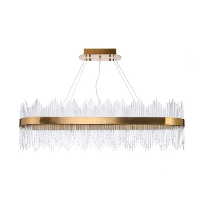 Height Adjustable House Light 31.5in/39in Length LED Glass Sticks Pendant Lighting Second Gear Metal Oval Chandeliers in Gold Finish (Warm White)