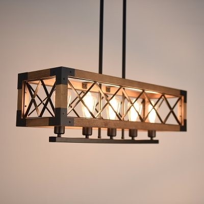 Industrial Style 5 Light Ceiling Light Island Lamp with Wood Frame in Black Finish for Living Room Restaurant