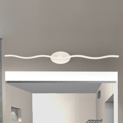 Modern Bathroom Vanity Light LED Slim Linear Wall Light 9-18W 4000K LED Down Lighting Wave Vanity Lighting in White
