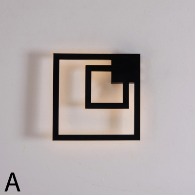 Post Modern Minimalist Black Square Led Wall Sconce Metal 25W/28W Indoor Decoration 2-Light Framed Led Ambient Wall Light with Warm White Light