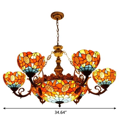 Sunflower Pattern Tiffany Stained Glass Chandelier with Wrought Iron Arms 3 Sizes for Option