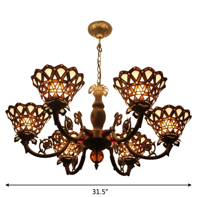 Tiffany 6-Light Inverted Floral Stained Glass Shade in Bronze Finish