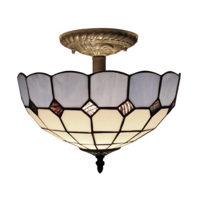 Tiffany Stained Glass Mediterranean Semi-Flush Mount Featuring Blue&White Checkered Pattern
