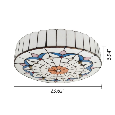 Tiffany Stained Glass White Flushmount Light Featuring Lily Motif and Jewels