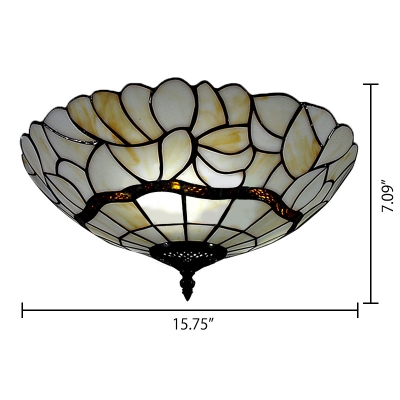 White Glass 16 Inch 3 Lights Tiffany Ceiling Light with Antique Bronze Finish