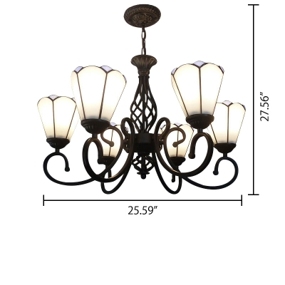 Floral Shade 6-Light Inverted Tiffany Stained Glass Chandelier in White/Blue
