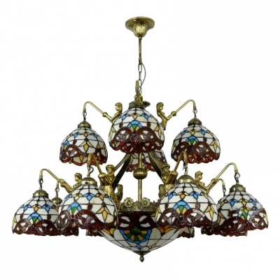 2-Tier Victorian Style Tiffany Stained Glass Chandelier with Mermaid Designed Arms