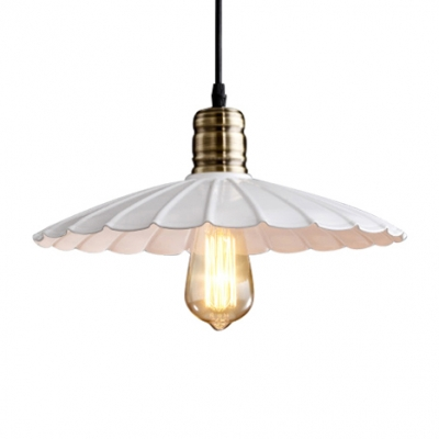 9.84/11.81/13.77/15.74 Inches Width Indoor White Single Light Down Lighting LED Pendant with Scalloped Metal Shade