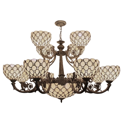 Beige Stained Glass 2-Tier Center Bowl Chandelier for Hotel Lobby 45.28