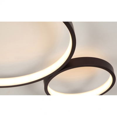Modern Living Room Bedroom Lighting 4 Lights Circular Ring LED Ceiling Fixture in Brown 49W-75W LED Warm White Neutral 3 Sizes for Option